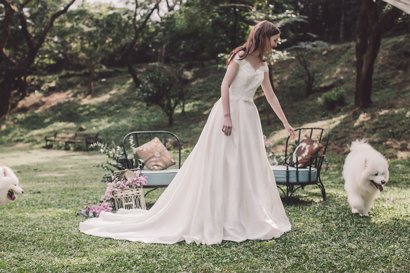 Off-the-shoulder wedding dress in mikado